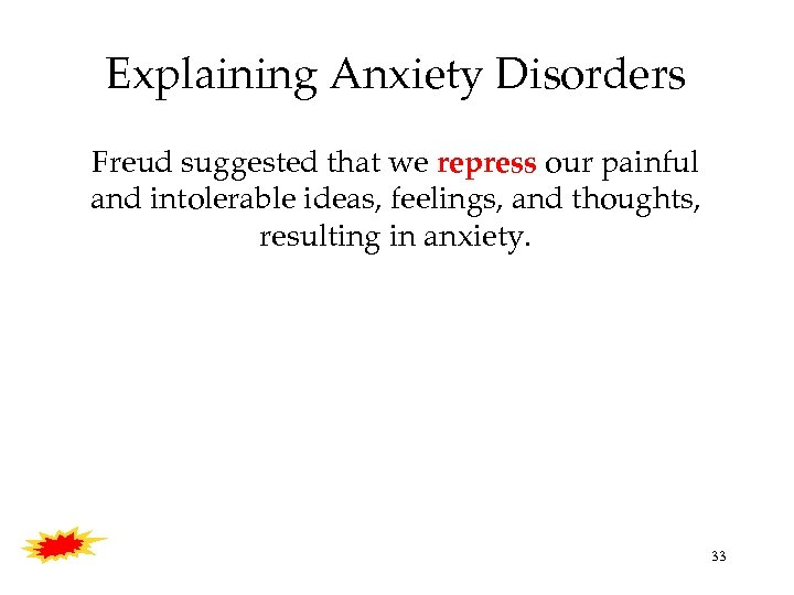 Explaining Anxiety Disorders Freud suggested that we repress our painful and intolerable ideas, feelings,