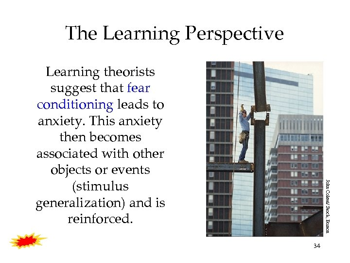 The Learning Perspective John Coletti/ Stock, Boston Learning theorists suggest that fear conditioning leads