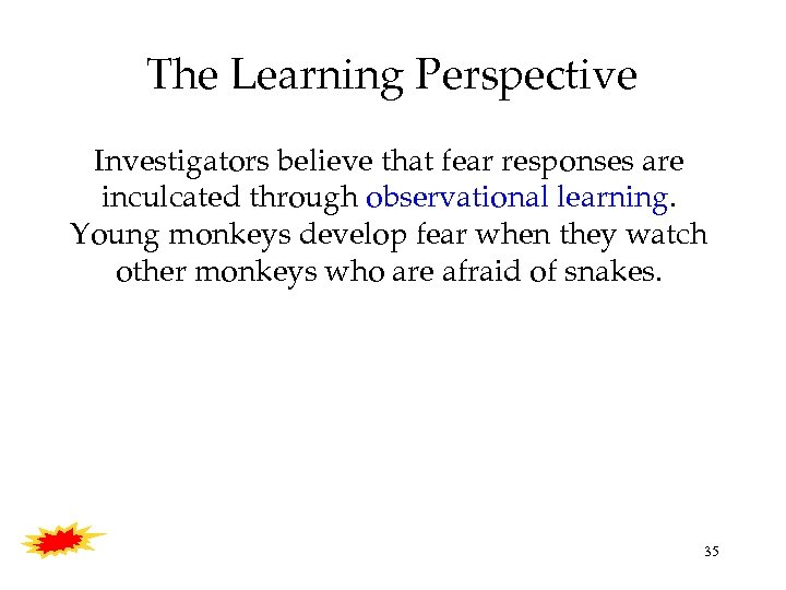 The Learning Perspective Investigators believe that fear responses are inculcated through observational learning. Young