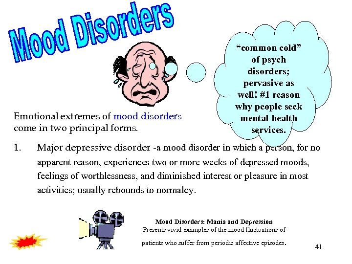 "Emotional extremes of mood disorders come in two principal forms. 1. ""common cold"" of"