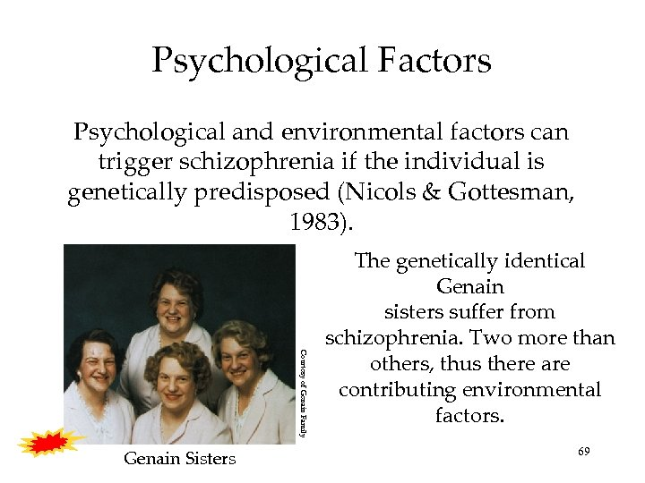 Psychological Factors Psychological and environmental factors can trigger schizophrenia if the individual is genetically