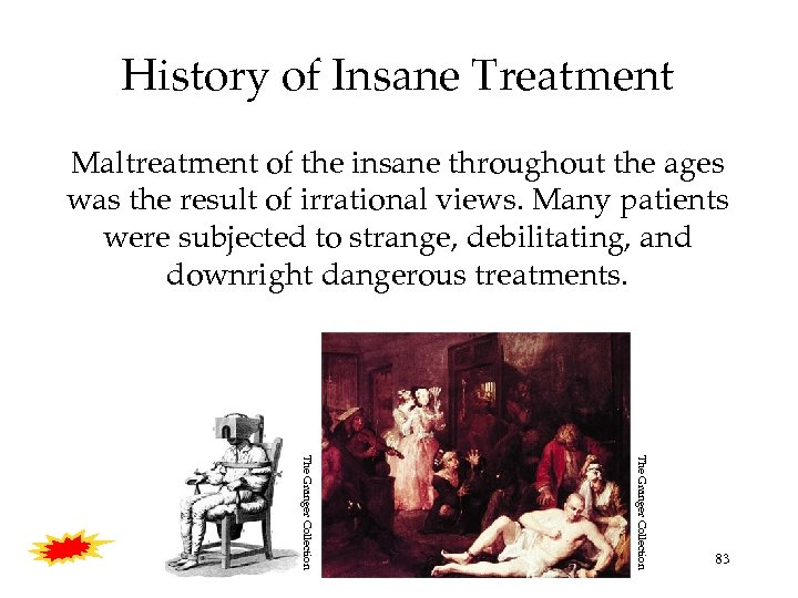 History of Insane Treatment Maltreatment of the insane throughout the ages was the result