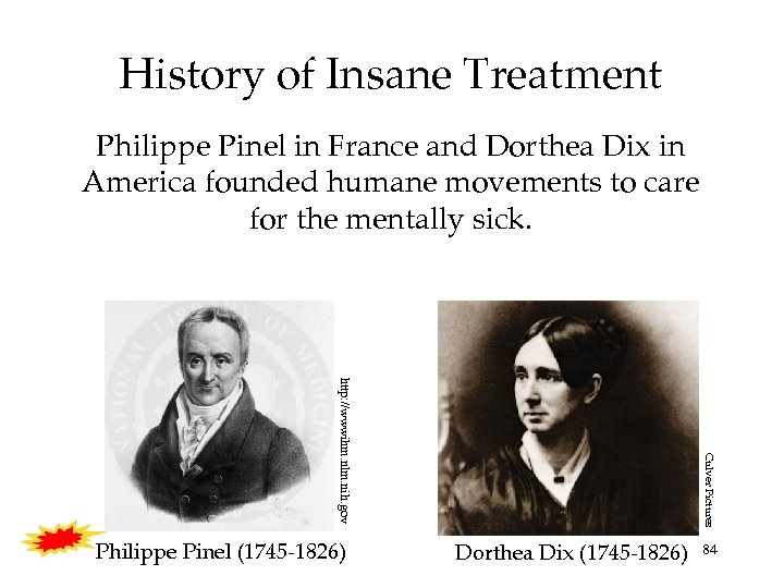 History of Insane Treatment Philippe Pinel in France and Dorthea Dix in America founded