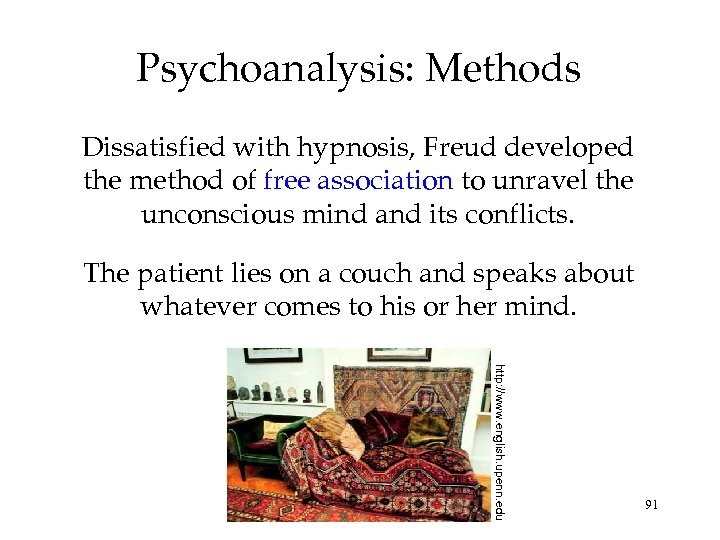 Psychoanalysis: Methods Dissatisfied with hypnosis, Freud developed the method of free association to unravel