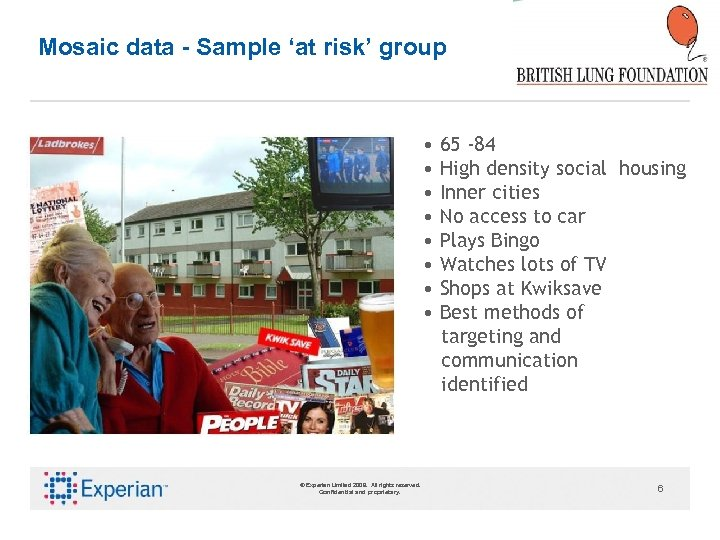 Mosaic data - Sample 'at risk' group • 65 -84 • High density social