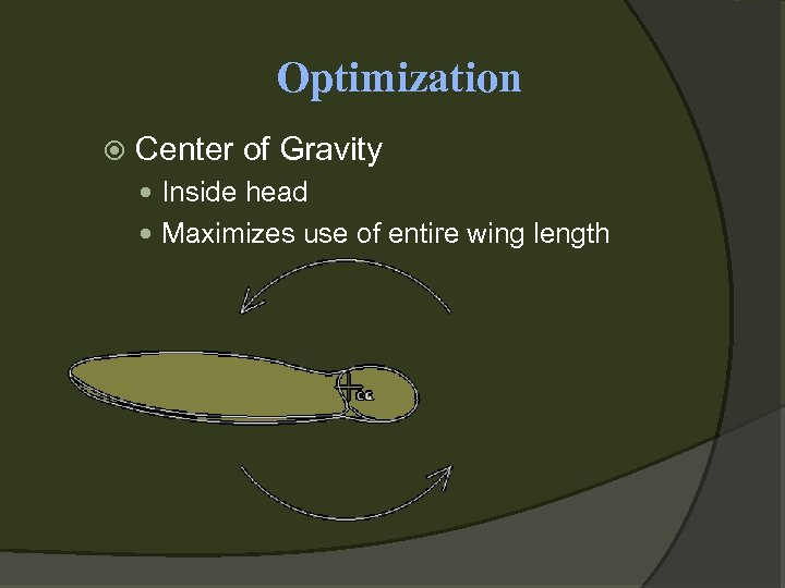 Optimization Center of Gravity Inside head Maximizes use of entire wing length