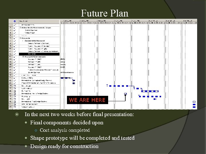 Future Plan WE ARE HERE In the next two weeks before final presentation: Final