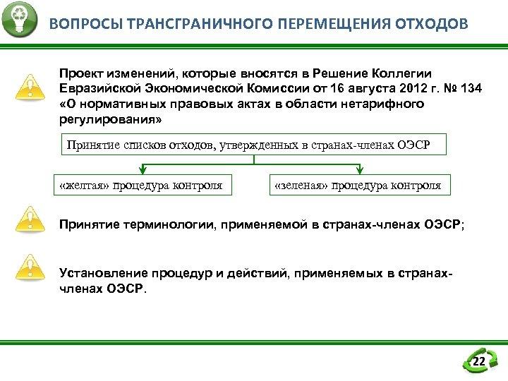 ВОПРОСЫ ТРАНСГРАНИЧНОГО ПЕРЕМЕЩЕНИЯ ОТХОДОВ Проект изменений, которые вносятся в Решение Коллегии Евразийской Экономической Комиссии