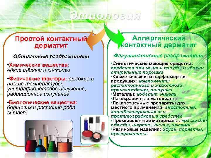 Этиология Простой контактный дерматит Аллергический контактный дерматит Облигатные раздражители Факультативные раздражители • Химические вещества: