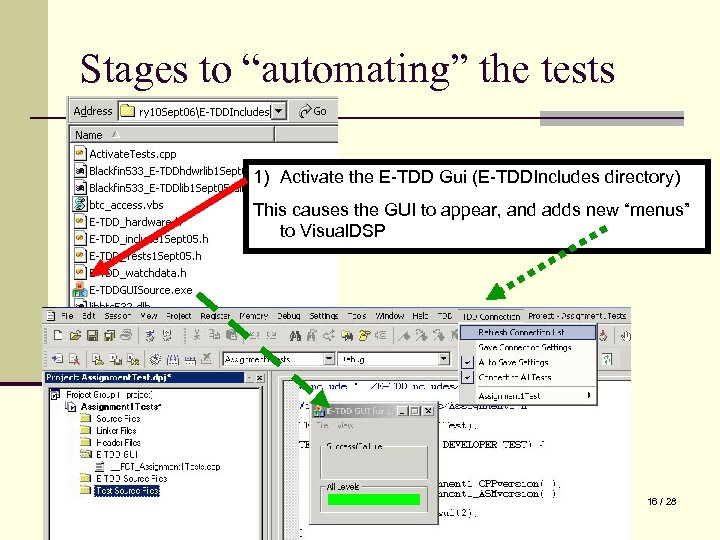 """Stages to """"automating"""" the tests 1) Activate the E-TDD Gui (E-TDDIncludes directory) This causes"""