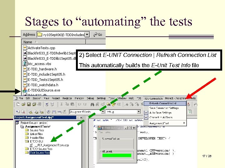 """Stages to """"automating"""" the tests 2) Select E-UNIT Connection   Refresh Connection List This"""