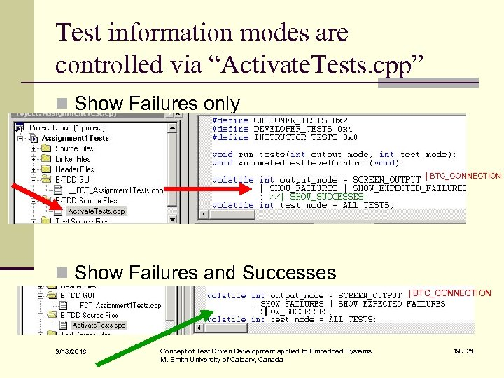 """Test information modes are controlled via """"Activate. Tests. cpp"""" n Show Failures only  """