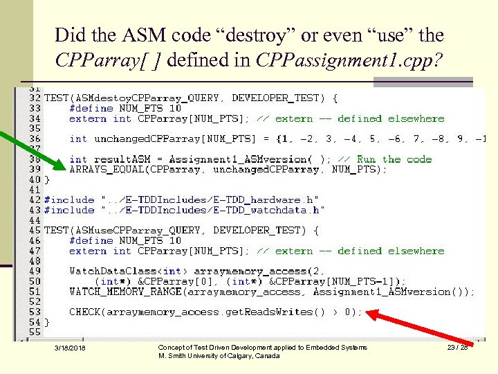 """Did the ASM code """"destroy"""" or even """"use"""" the CPParray[ ] defined in CPPassignment"""