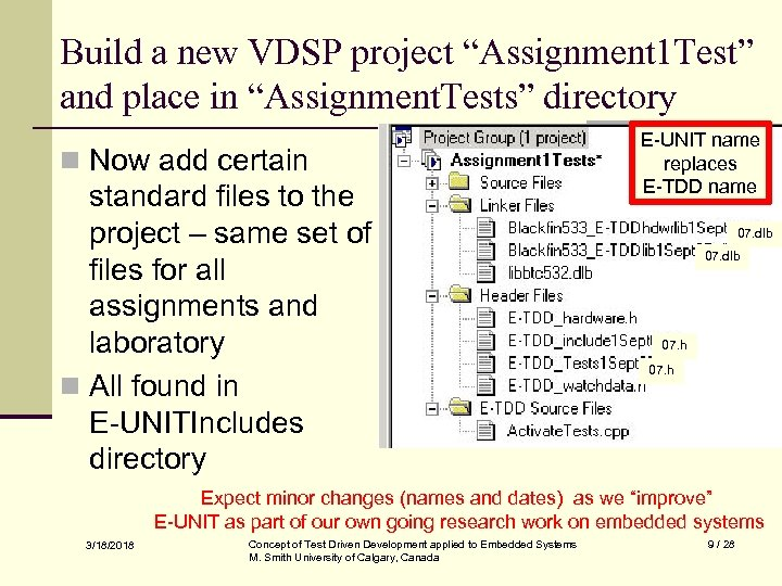 """Build a new VDSP project """"Assignment 1 Test"""" and place in """"Assignment. Tests"""" directory"""