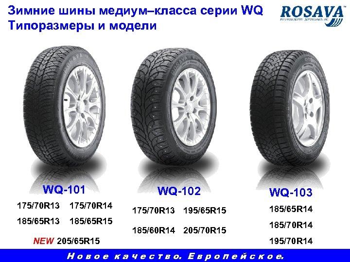 Зимние шины медиум–класса серии WQ Типоразмеры и модели WQ-101 175/70 R 13 175/70 R