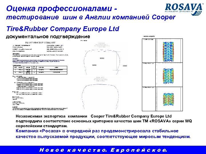 Оценка профессионалами тестирование шин в Англии компанией Cooper Tire&Rubber Company Europe Ltd документальное подтверждение