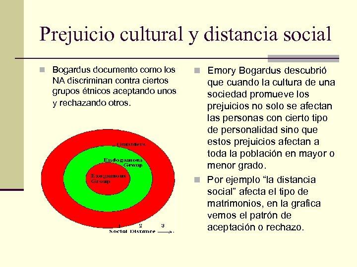 Prejuicio cultural y distancia social n Bogardus documento como los NA discriminan contra ciertos