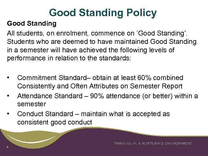 Good Standing Policy Good Standing All students, on enrolment, commence on 'Good Standing'. Students