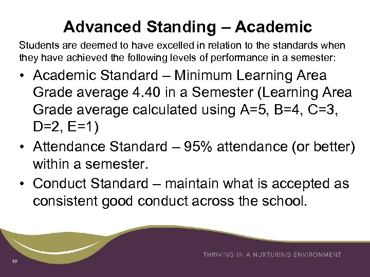 Advanced Standing – Academic Students are deemed to have excelled in relation to the