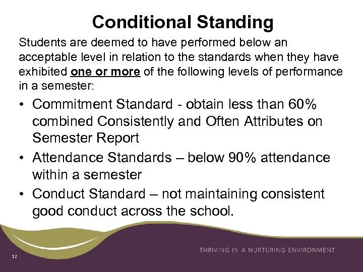 Conditional Standing Students are deemed to have performed below an acceptable level in relation