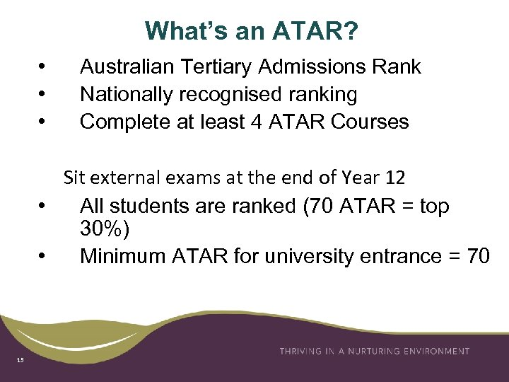 What's an ATAR? • • • Australian Tertiary Admissions Rank Nationally recognised ranking Complete