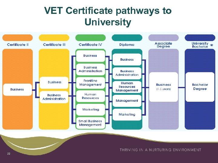 VET Certificate pathways to University 22