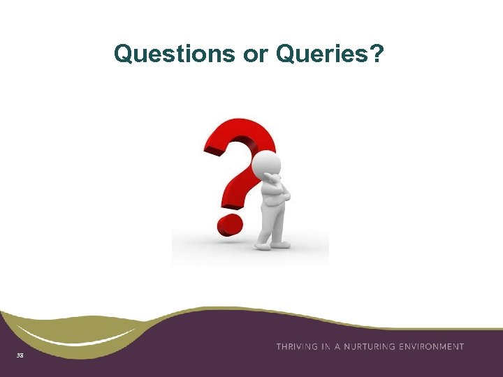 Questions or Queries? 38