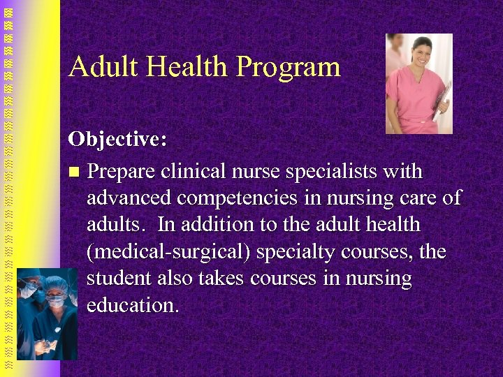 Adult Health Program Objective: n Prepare clinical nurse specialists with advanced competencies in nursing