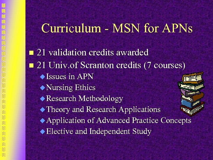 Curriculum - MSN for APNs 21 validation credits awarded n 21 Univ. of Scranton