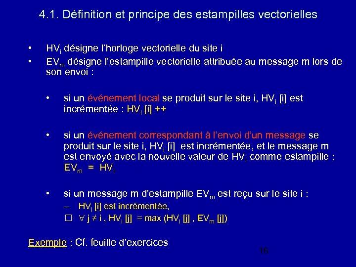 4. 1. Définition et principe des estampilles vectorielles • • HVi désigne l'horloge vectorielle