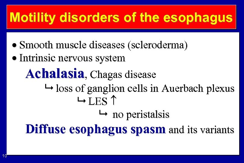 Motility disorders of the esophagus Smooth muscle diseases (scleroderma) Intrinsic nervous system Achalasia, Chagas