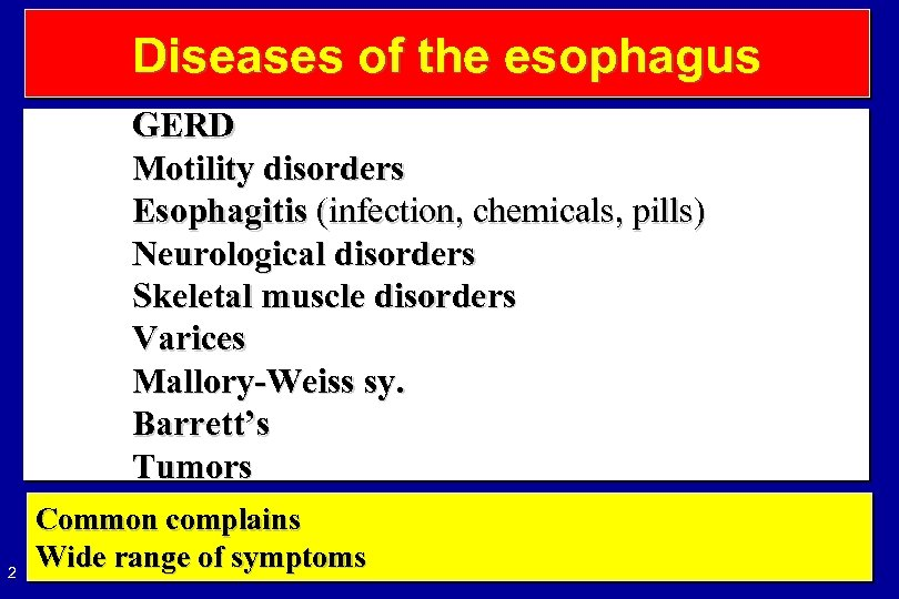 Diseases of the esophagus GERD Motility disorders Esophagitis (infection, chemicals, pills) Neurological disorders Skeletal