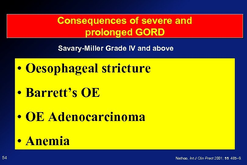 Consequences of severe and prolonged GORD Savary-Miller Grade IV and above Oesophageal stricture •