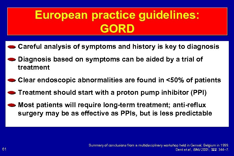 European practice guidelines: GORD Careful analysis of symptoms and history is key to diagnosis