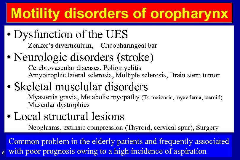 Motility disorders of oropharynx • Dysfunction of the UES Zenker's diverticulum, Cricopharingeal bar •