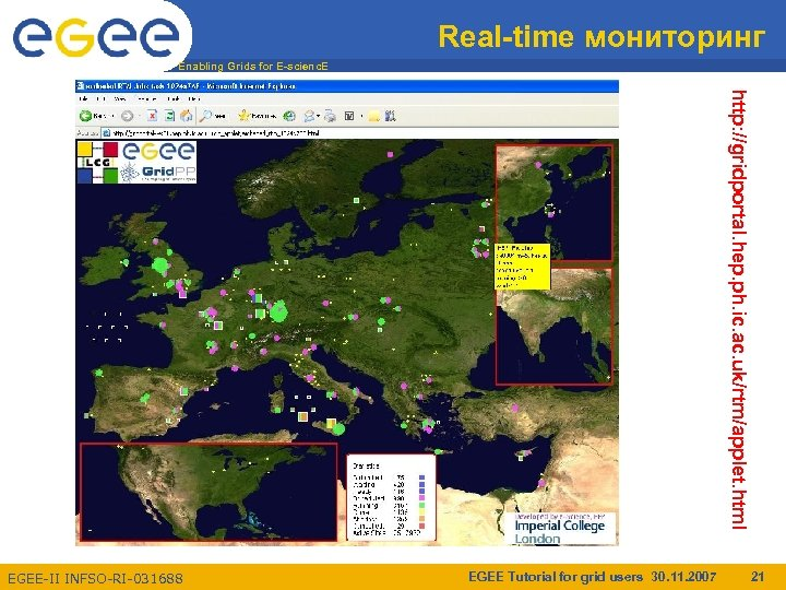 Real-time мониторинг Enabling Grids for E-scienc. E http: //gridportal. hep. ph. ic. ac. uk/rtm/applet.
