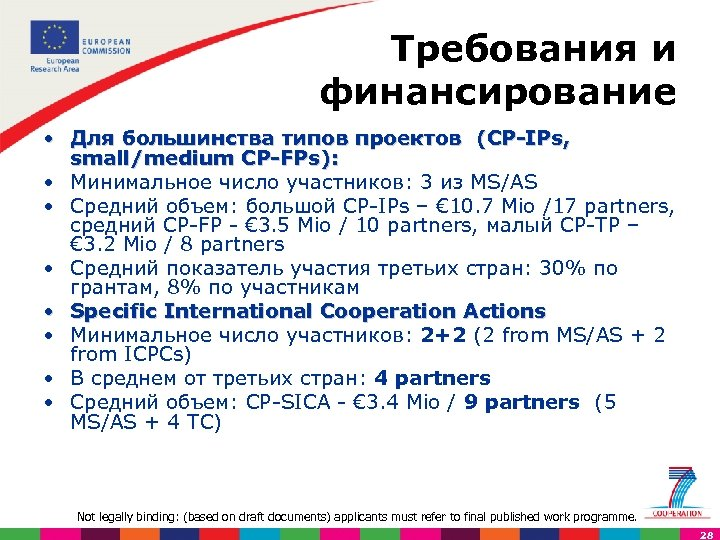 Требования и финансирование • Для большинства типов проектов (CP IPs, small/medium CP FPs): •
