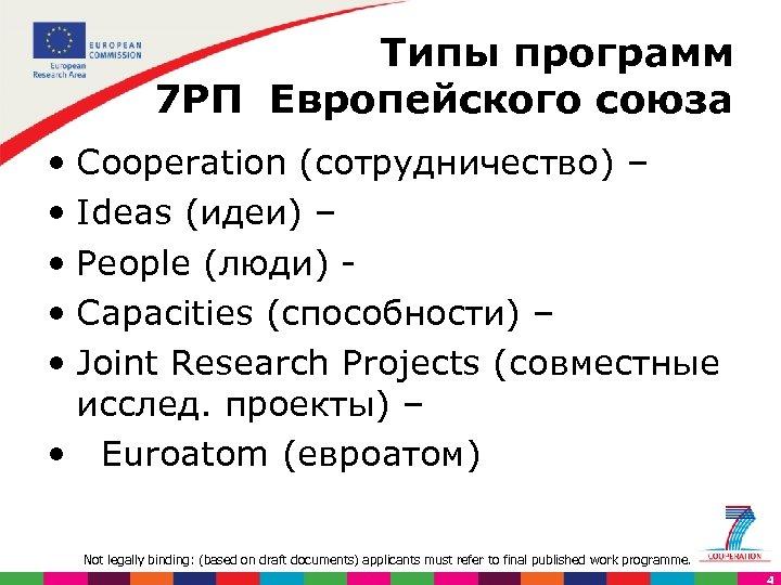 Типы программ 7 РП Европейского союза • Cooperation (сотрудничество) – • Ideas (идеи) –