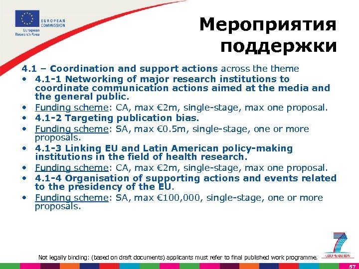 Мероприятия поддержки 4. 1 – Coordination and support actions across theme • 4. 1