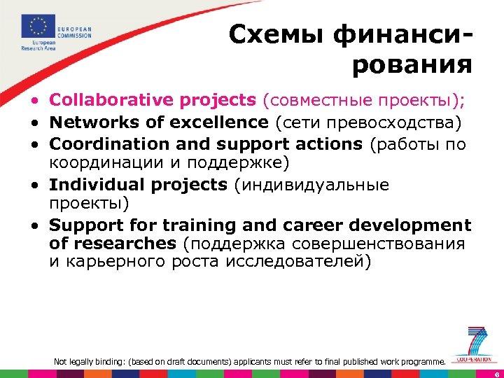 Схемы финанси рования • Collaborative projects (совместные проекты); • Networks of excellence (сети превосходства)