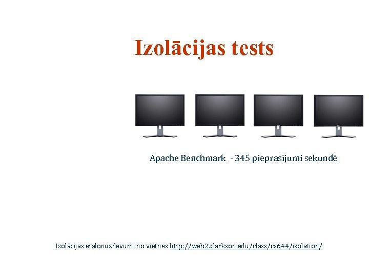 Izolācijas tests Apache Benchmark - 345 pieprasījumi sekundē Izolācijas etalonuzdevumi no vietnes http: //web