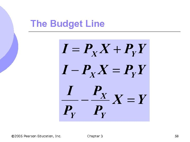 The Budget Line © 2005 Pearson Education, Inc. Chapter 3 58