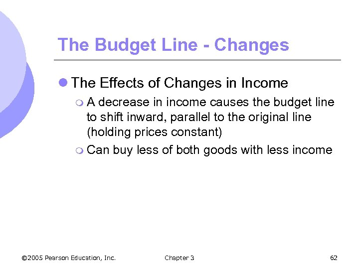 The Budget Line - Changes l The Effects of Changes in Income m. A