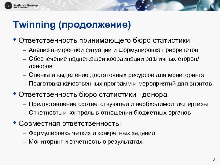 Twinning (продолжение) • Ответственность принимающего бюро статистики: – Анализ внутренней ситуации и формулировка приоритетов