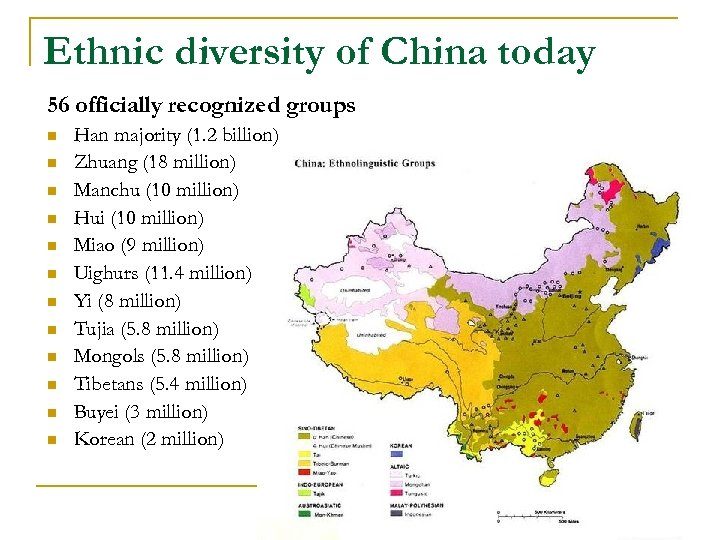 Ethnic diversity of China today 56 officially recognized groups n n n Han majority