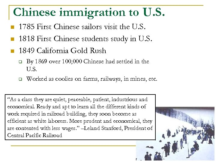 Chinese immigration to U. S. n n n 1785 First Chinese sailors visit the