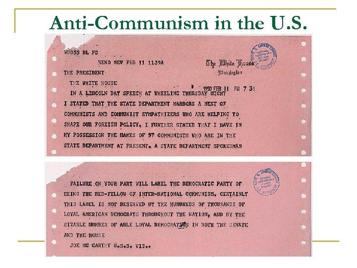 Anti-Communism in the U. S.