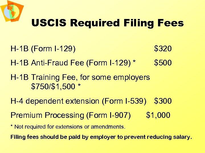 USCIS Required Filing Fees H-1 B (Form I-129) $320 H-1 B Anti-Fraud Fee (Form