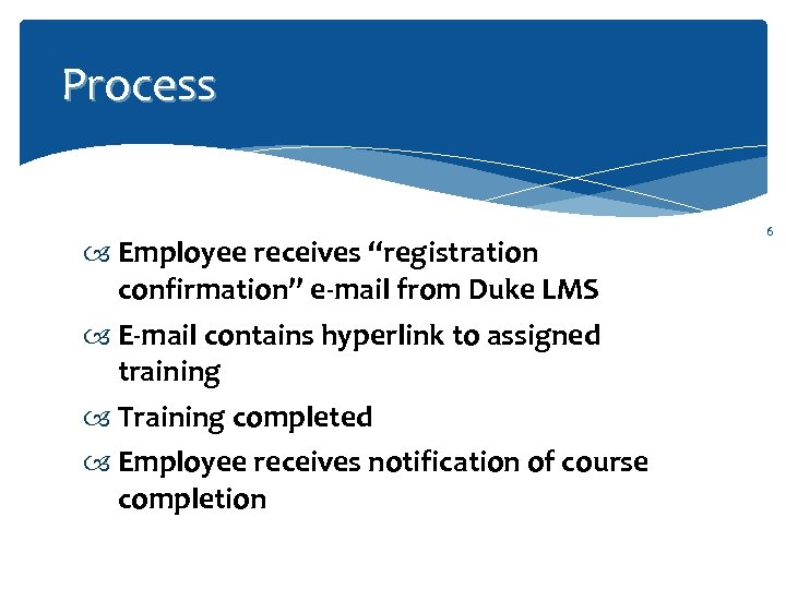 "Process Employee receives ""registration confirmation"" e-mail from Duke LMS E-mail contains hyperlink to assigned"