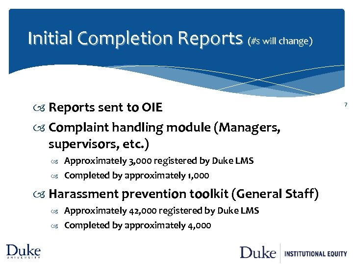 Initial Completion Reports (#s will change) Reports sent to OIE Complaint handling module (Managers,